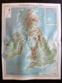 Bartholomew 1922 Large Map. British Isles, Bathy, Orographical.